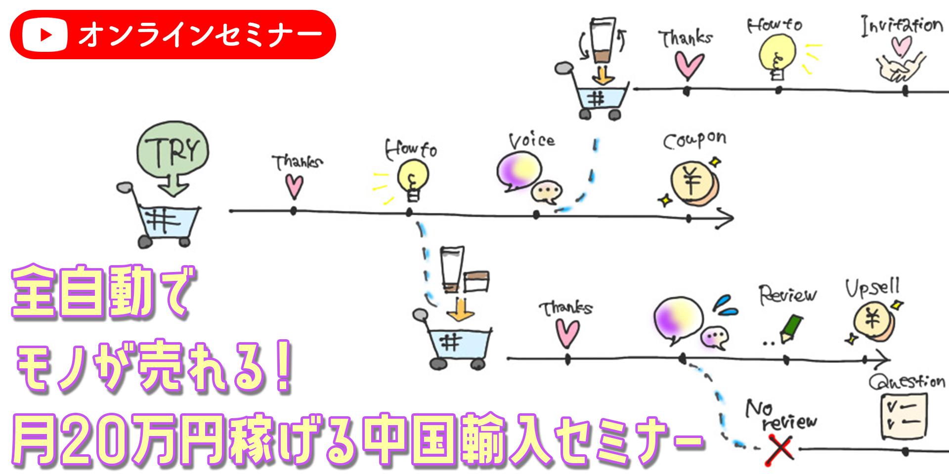 全自動でモノが売れる!月20万円稼げる中国輸入セミナーオンライン